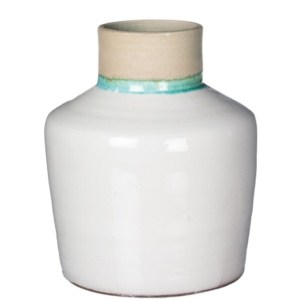 Shop White Crackle Vase With Aqua And Sand Accents Free Shipping