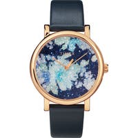 Timex Women's TW2R66400 Crystal Bloom Blue/Rose Gold Floral Leather Strap Watch - BLue