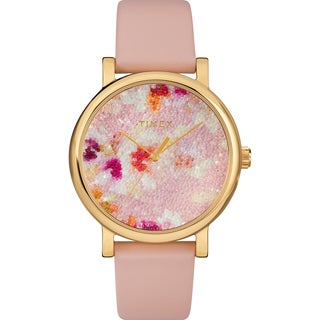 Timex Women's TW2R66300 Crystal Bloom Pink/Gold Floral Leather Strap Watch - PInk