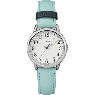 Timex Women's TW2R62900 Easy Reader Small Blue/Silver-Tone Leather Strap Watch