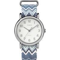 Timex Women's TW2R59200 Weekender 38 Blue Chevron Fabric Slip-Thru Strap Watch