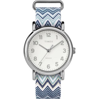 Timex Women's TW2R59200 Weekender 38 Blue Chevron Fabric Slip-Thru Strap Watch