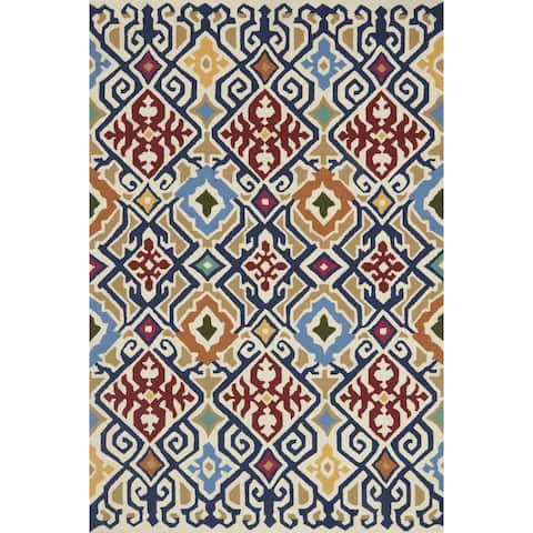 Indoor/ Outdoor Hand-hooked Multi Geometric Ikat Rug (3'6 x 5'6) by Alexander Home - 3'6 x 5'6