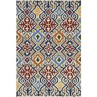 Indoor/ Outdoor Hand-hooked Multi Geometric Ikat Rug (3'6 x 5'6) by Alexander Home