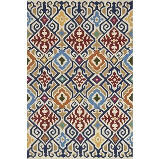 Indoor/ Outdoor Hand-hooked Multi Geometric Ikat Rug (7'6 x 9'6) by Alexander Home