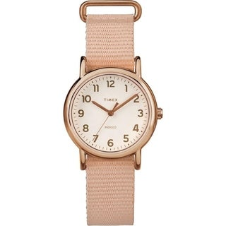 Timex Women's TW2R59900 Weekender 31 Pink/Rose Gold-Tone Nylon Slip-Thru Strap Watch - PInk