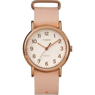 Timex Women's TW2R59600 Weekender 38 Pink/Rose Gold-Tone Nylon Slip-Thru Strap Watch - PInk