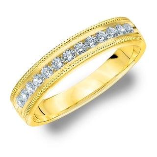 Amore 10KT Yellow Gold .25CT TDW Milgrain Edge Diamond Wedding Band