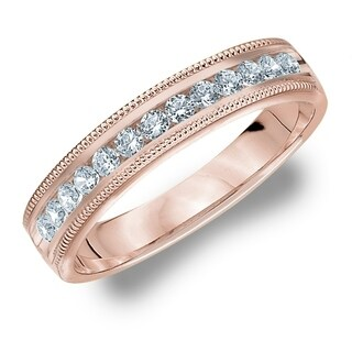 Amore 10KT Rose Gold .25CT TDW Milgrain Edge Diamond Wedding Band