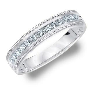 Amore 10KT White Gold 25CT TDW Milgrain Edge Diamond Wedding Band