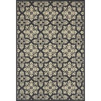 "Indoor/ Outdoor Hand-hooked Grey Floral Mosaic Rug (2'3 x 3'9) by Alexander Home - 2'3"" x 3'9"""