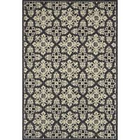 Indoor/ Outdoor Hand-hooked Grey Floral Mosaic Rug (7'6 x 9'6) by Alexander Home