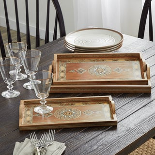 Handmade Rectangle Mosaic Set of 3 Wood Serving Trays (Lebanon)