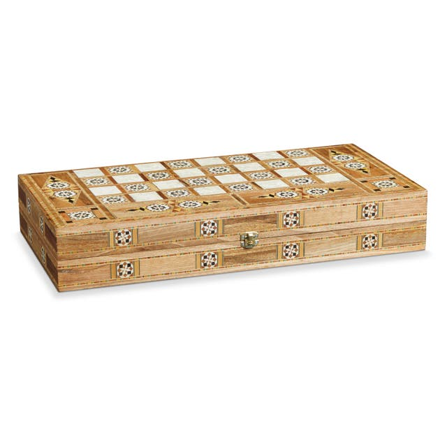 Traditional Mosaic Wood Checkers or Backgammom Set