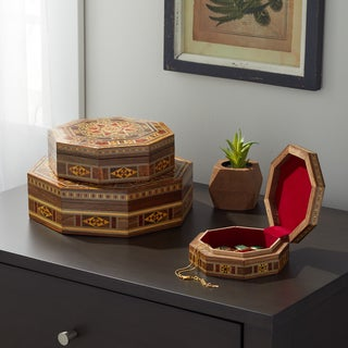 Handmade Traditional Matt Mosaic Set of 3 Jewelry Boxes (Lebanon)