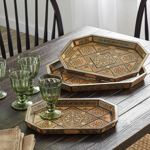 Handmade Hexagonal Set of 3 Serving Trays (Lebanon)