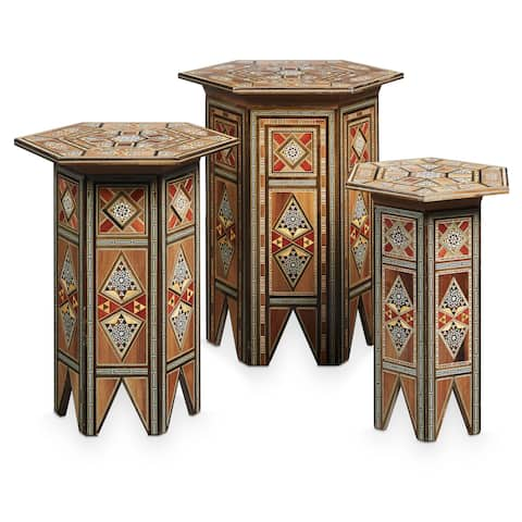 Handmade Mosaic Set of 3 End Tables (Lebanon)