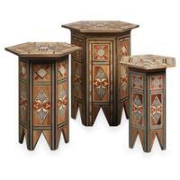 Handmade Mosaic Set of 3 End Tables (Lebanon)