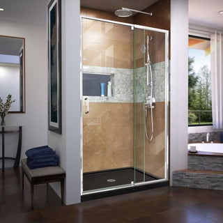 DreamLine Flex 36 in. D x 48 in. W x 74 3/4 in. H Frameless Pivot Shower Door and SlimLine Shower Base Kit