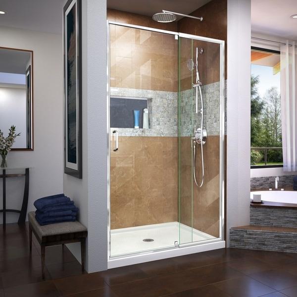DreamLine Flex 36 in. D x 48 in. W x 74 3/4 in. H Semi-Frameless Pivot Shower Door and SlimLine Shower Base Kit