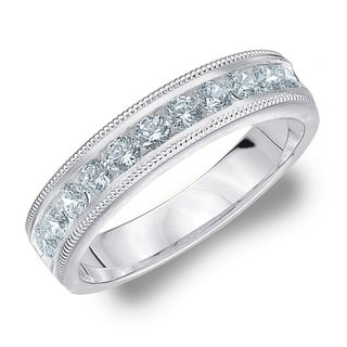 Amore 10KT White Gold .50CT TDW Milgrain Edge Diamond Wedding Band