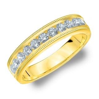 Amore 10KT Yellow Gold .50CT TDW Milgrain Edge Diamond Wedding Band