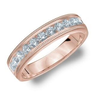Amore 10KT Rose Gold .50CT TDW Milgrain Edge Diamond Wedding Band