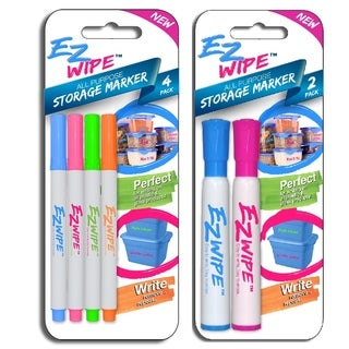 6pc All-Purpose EZ- Wipe Thin & Medium Point Storage Markers