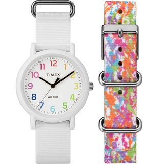 Timex Unisex TWG018200 Weekender Color Rush White/Splash Box Set - WHITE