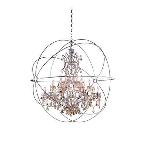 Royce Edge 25-Light Polished Nickel Chandelier