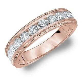 Amore 10KT Rose Gold 1CT TDW Milgrain Edge Diamond Wedding Band