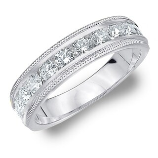 Amore 10KT White Gold 1CT TDW Milgrain Edge Diamond Wedding Band