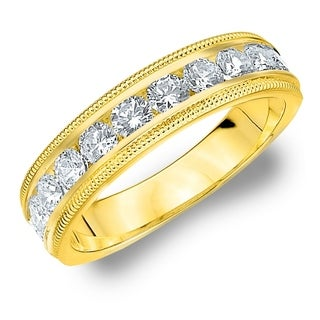 Amore 10KT Yellow Gold 1CT TDW Milgrain Edge Diamond Wedding Band