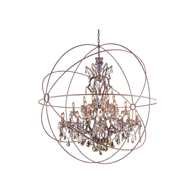 Royce Edge Rustic Intent Steel 25-light Chandelier with Royal-cut Crystals