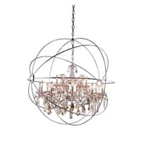 Royce Edge Polished Nickel Steel/ Glass/ Crystal 18-light Chandelier
