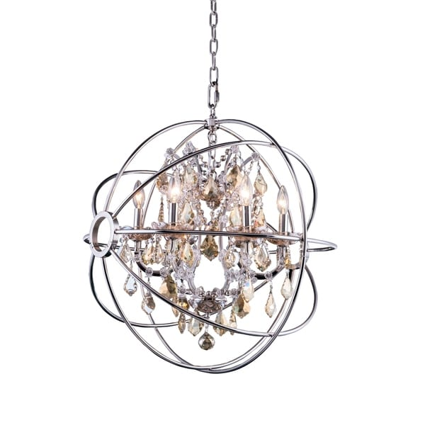 Royce Edge Polished Nickel Steel/Crystal 6-light Chandelier
