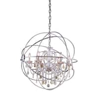 Royce Edge Polished Nickel Steel 6-light Chandelier