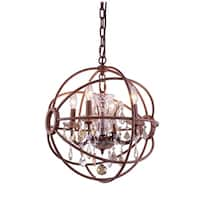 Royce Edge Rustic Intent Royal-cut Crystal Accents Steel 4-light Pendant