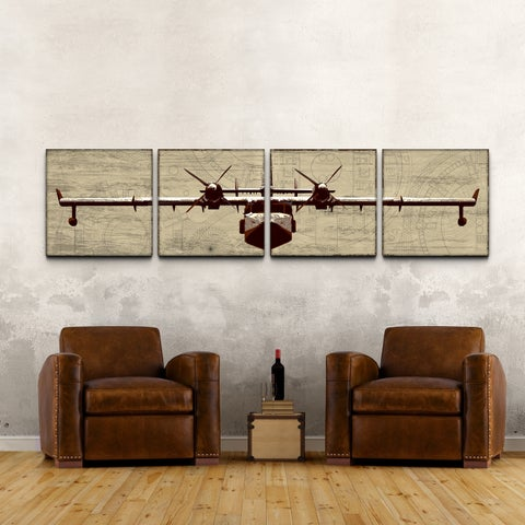 Airplane' 24x96-inch Four Piece Canvas Art Print