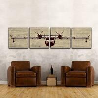 Airplane' 24x96-inch Four Piece Canvas Art Print