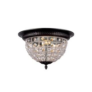 Royce Edge Dark Bronze Steel 3-light Flush-mount Fixture with Royal-cut Clear Crystals