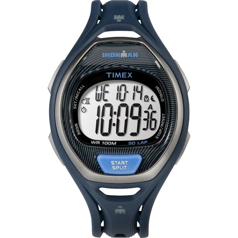 Timex Unisex TW5M17600 Ironman Sleek 50 Full-Size Blue/Black Resin Strap Watch - BLue