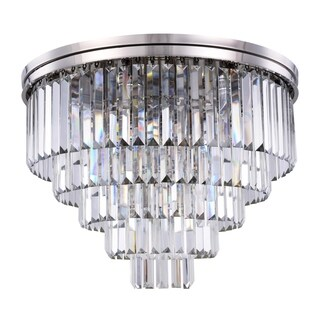 Royce Edge Polished Nickel Finish Steel 17-light Flush-mount Fixture with Royal-cut Crystal Accents (3 options available)