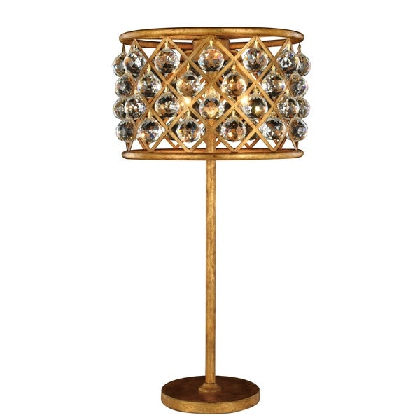 Royce Edge 3 light Golden Iron Table Lamp