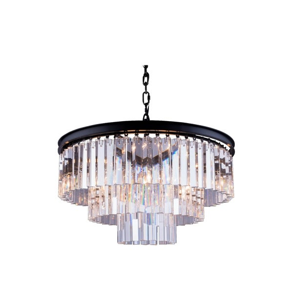 Royce Edge 9-Light Matte Black Chandelier