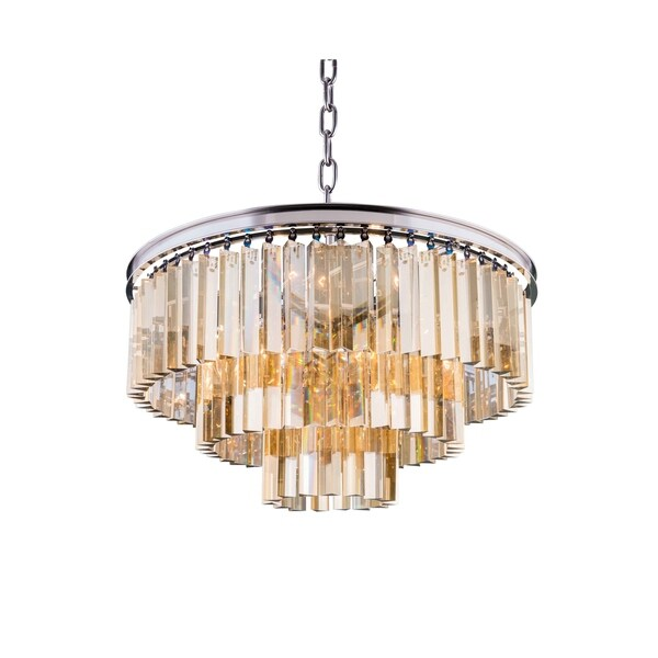 Royce Edge Polished Nickel 9-light Chandelier with Royal-cut Crystals