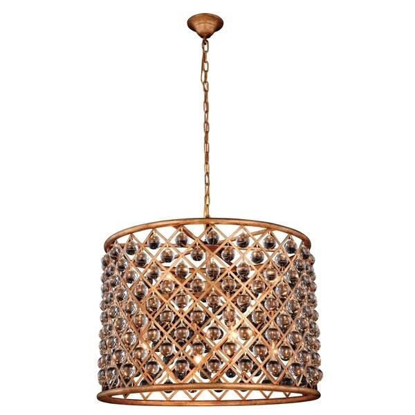 Royce Edge Gold-tone Iron-finish/Clear Steel/Royal-cut Crystal 8-light Chandelier