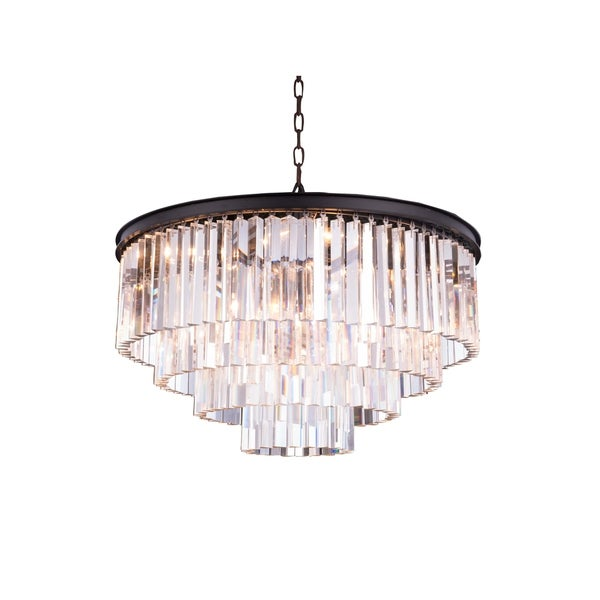 Royce Edge Matte Black Steel with Royal Cut Crystals 17-light Chandelier