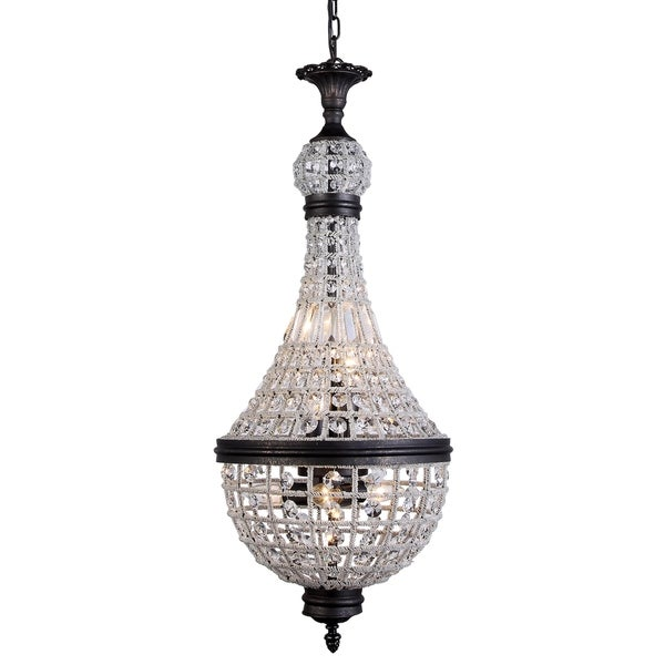 Royce Edge Dark Bronze Steel/Royal-cut Crystal 6-light Pendant