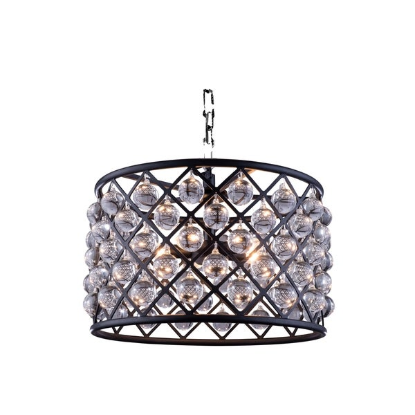 Royce Edge Matte Black Steel 6-light Pendant With Royal Cut Clear Crystals